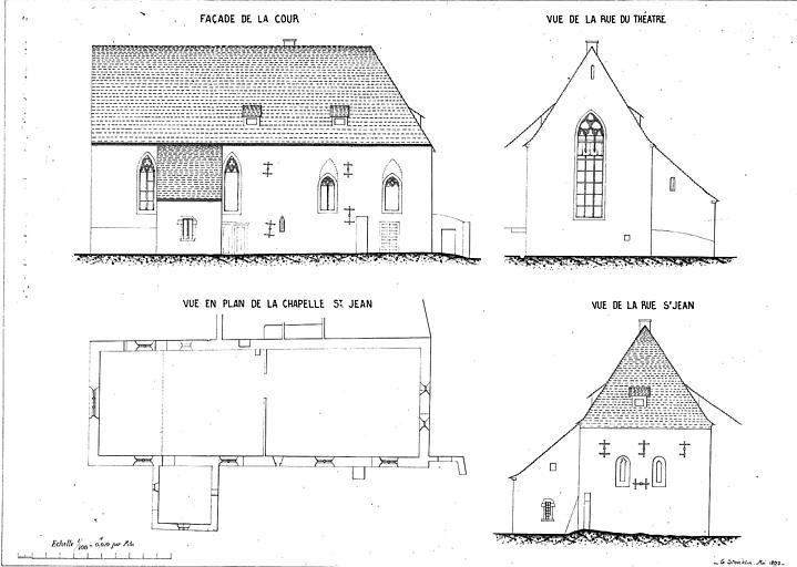 Plan et trois élévations : façade, cour, pignon sur la rue Saint-Jean et pignon sur la rue du Théâtre