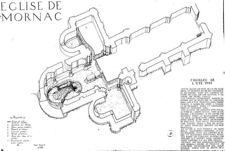Plan isométrique des fouilles de l'été 1951
