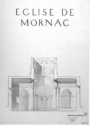Plan, coupe transversale sur le transept