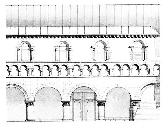 Coupe longitudinale de quatre travées de la nef