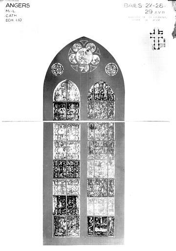 Photomontage de vitrail : baies 27, 28, 29, Arbre de Jessé, état avant restauration