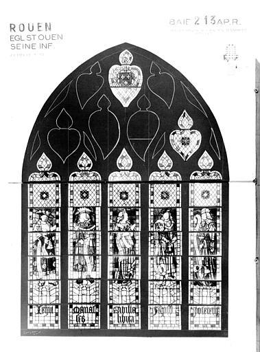 Photomontage de vitrail : baie 213, personnages de l'Ancien Testament et Sibylles, état après restauration