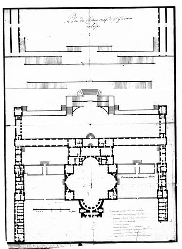 Plan d'architecte du château Neuf de Saint-Germain-en-Laye, avec retombes