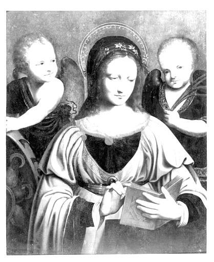 Panneau peint : sainte Catherine lisant entre deux anges (copie d'un tableau conservé à Saint-Petersbourg)