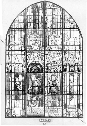 Photomontage de vitrail : chapelle de la crypte, baie ME, Isaïe et David, état avant restauration