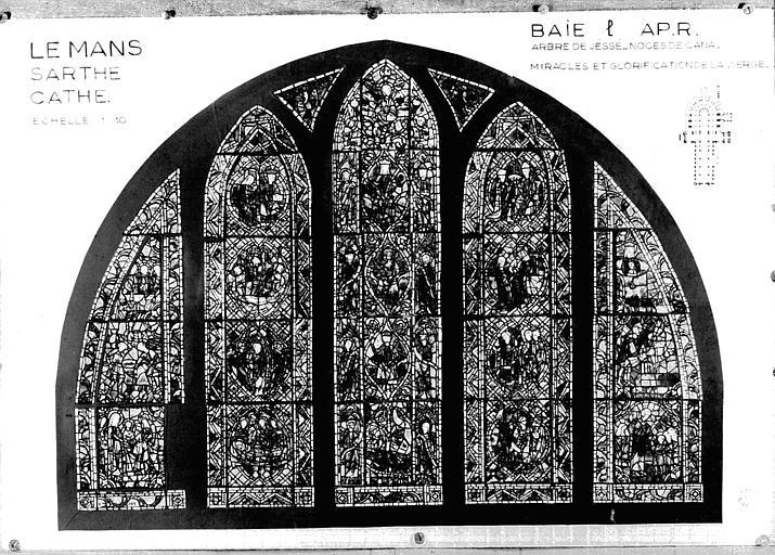 Photomontage de vitrail : triforium baie L, état après restauration