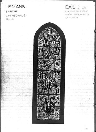 Photomontage de vitrail : chapelle axiale baie I, état après restauration