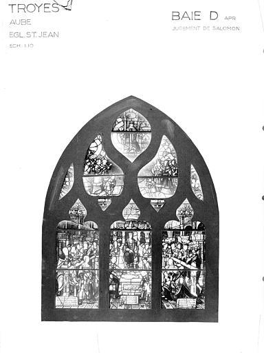 Photomontage de vitrail : baie D, Jugement de Salomon, état après restauration