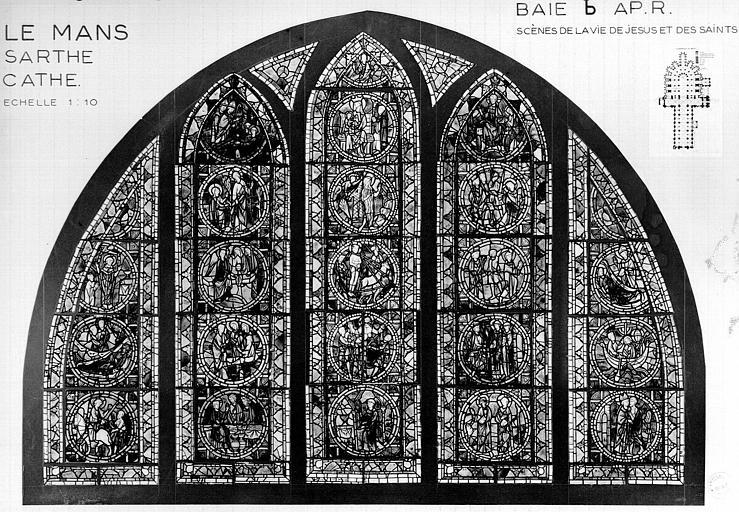 Photomontage de vitrail : déambulatoire baie B, Vie du Christ et des saints