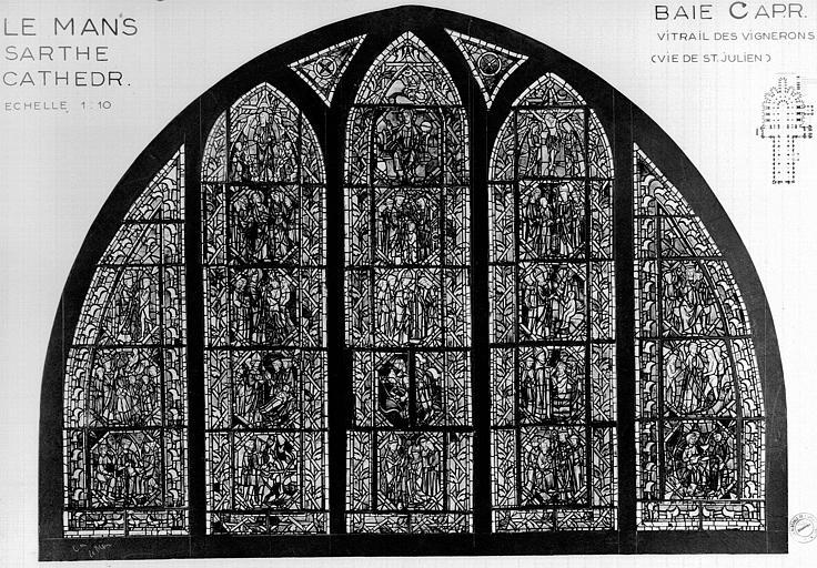 Photomontage de vitrail : déambulatoire baie C, les vignerons