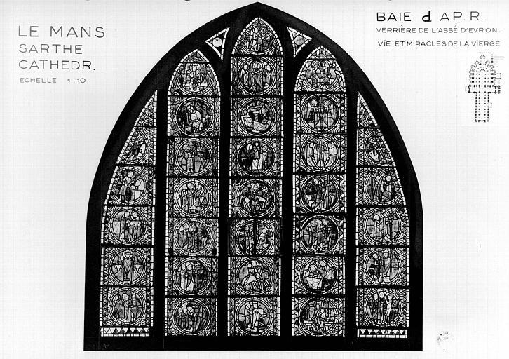 Photomontage de vitrail : déambulatoire baie D, Abbé d'Evron et Miracle de l'Epine