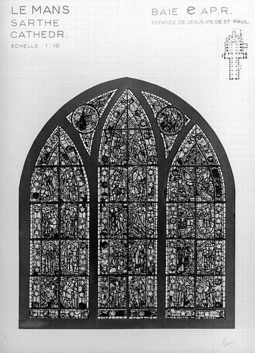 Photomontage de vitrail : déambulatoire baie E, Enfance du Christ et Vie de saint Paul