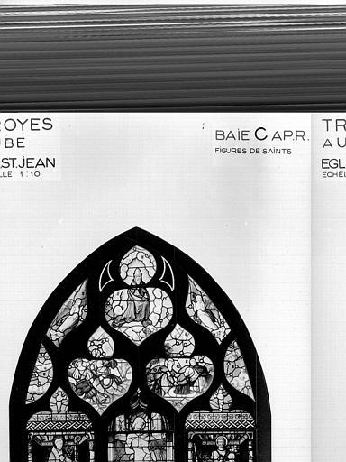 Photomontage de vitrail : baie C, figures de saints, état après restauration