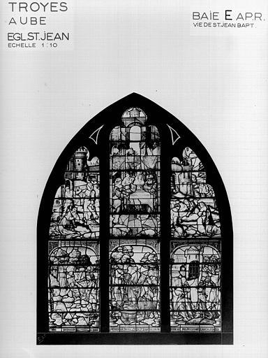 Photomontage de vitrail : baie E, Vie de saint Jean-Baptiste, état après restauration
