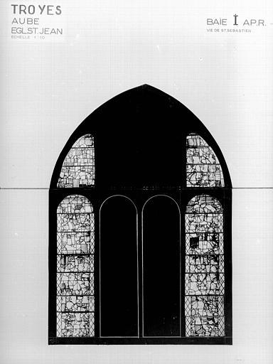 Photomontage de vitrail : baie I, Vie de saint Sébastien, état après restauration
