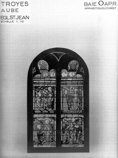 Photomontage de vitrail : baie O, Apparitions du Christ, état après restauration