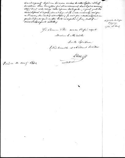 Lettre au ministre : compte-rendu de visite de M. Lion (fin)