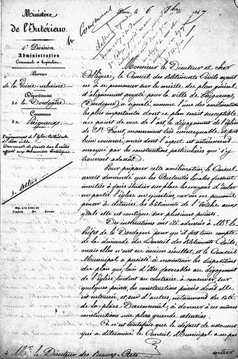 Note du chef de la quatrième division au Ministère de l'intérieur à Monsieur le directeur des Beaux-Arts en 1847, premier folio, recto