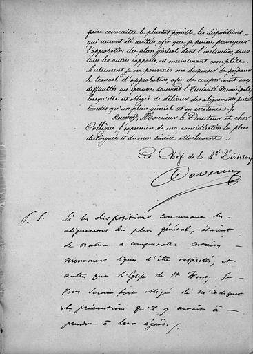 Note du chef de la quatrième division au Ministère de l'intérieur à Monsieur le directeur des Beaux-Arts en 1847, deuxième folio, recto