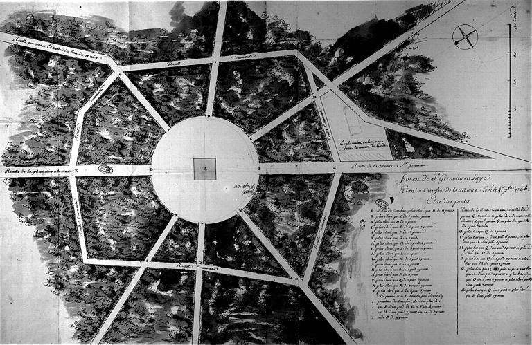 Plan du carrefour de la Muette levé le 4 septembre 1764, état des pentes