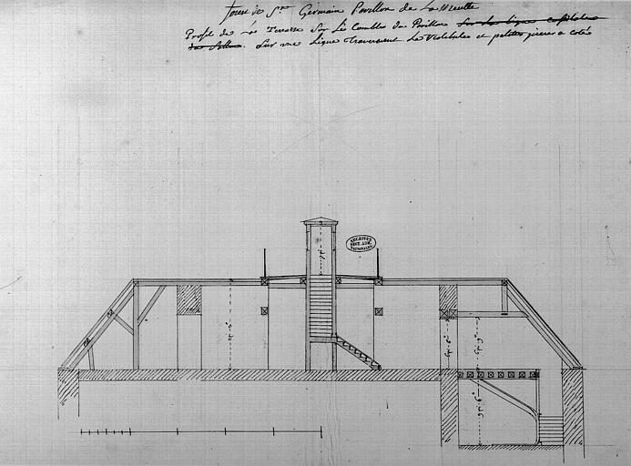 Plan, profil de la terrasse sur les combles du pavillon sur une ligne traversant le vestibule et petites pièces à côté