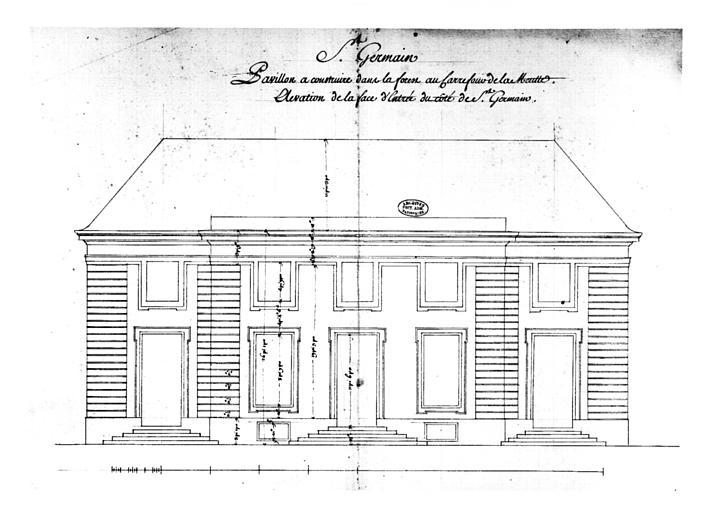 Plan, pavillon à construire dans la forest au carrefour de la Muette, élévation de la façade d'entrée du côté de Saint-Germain