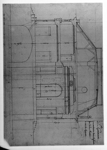 Plan, pavillon à construire dans la forest au carrefour de la Muette, coupe sur la longueur