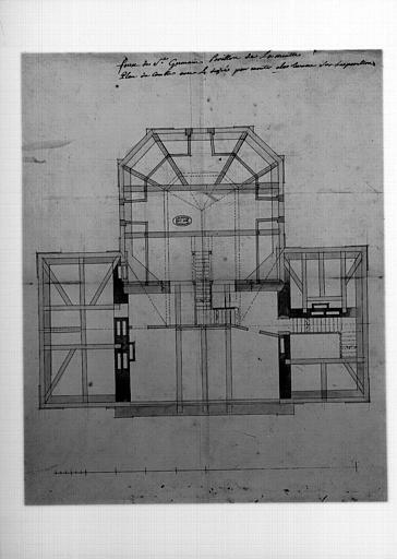 Plan du comble, avec le degré pour monter à la terrasse sur les pavillons