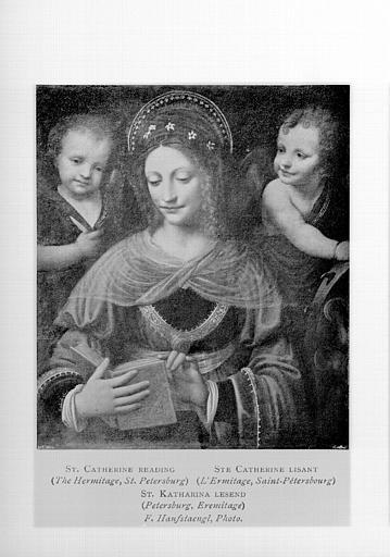 Peinture, panneau : sainte Catherine lisant (copie d'un tableau conservé à Saint-Petersbourg)