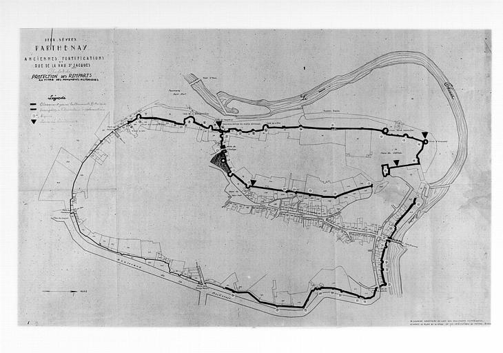 Plan des anciennes fortifications et rue de la Vaux-Saint-Jacques d'après le plan de la ville