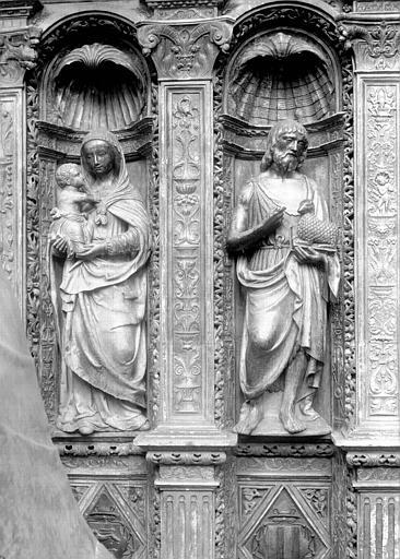 Tombeau des Cardinaux d'Amboise, dorsal : statues de la Vierge à l'Enfant et saint Jean-Baptiste