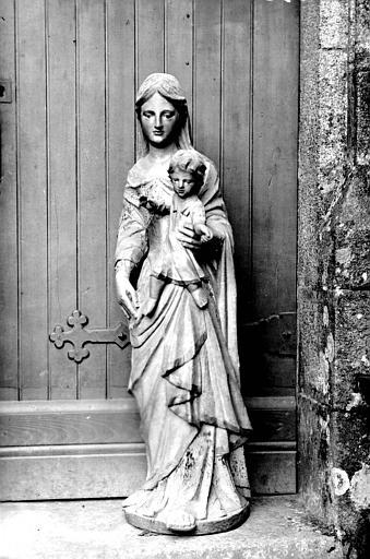 Statue en bois peint : Vierge à l'Enfant