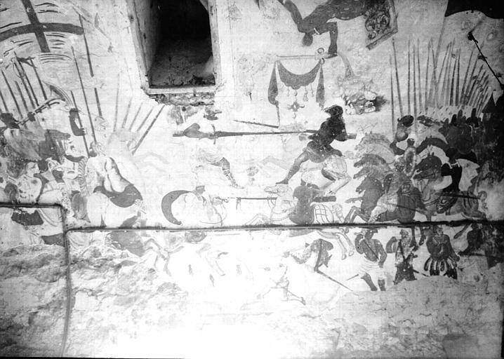 Etable, peintures de la voûte : scènes de batailles