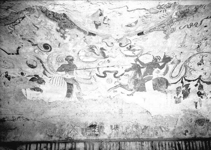 Etable, peintures de la voûte : scènes de batailles, première partie