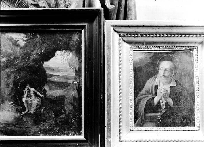 Deux peintures sur toile situées dans la Grande Galerie du premier étage : saint Pierre en prière, saint Jérôme dans sa grotte