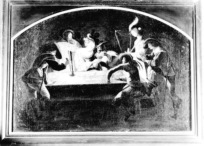 Peinture sur toile située dans la Grande Galerie du premier étage : Scène de jeu de carte