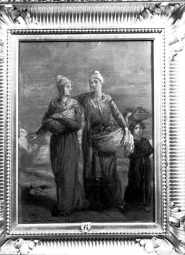 Peinture sur toile située dans la Grande Galerie du premier étage : deux  femmes et une enfant portant des paniers