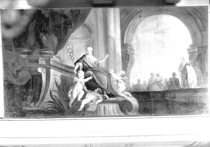 Dessus de porte : peinture sur toile, fin Louis XV, située dans le Petit Salon