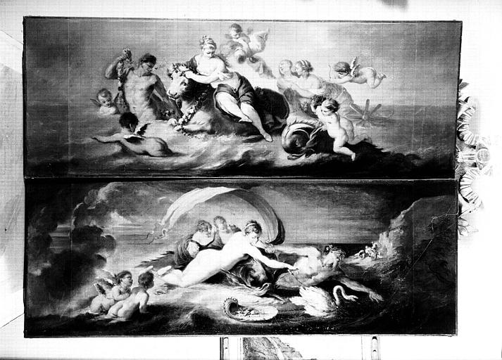 Deux dessus de porte, peintures sur toile situées dans la Chambre de la Poupée : sujets mythologiques
