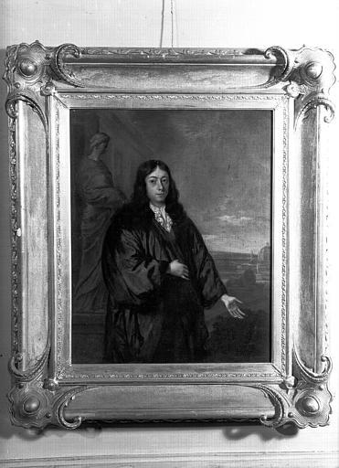 Peinture sur toile située dans la Petite Chambre Bleue : portrait d'un philosophe hollandais