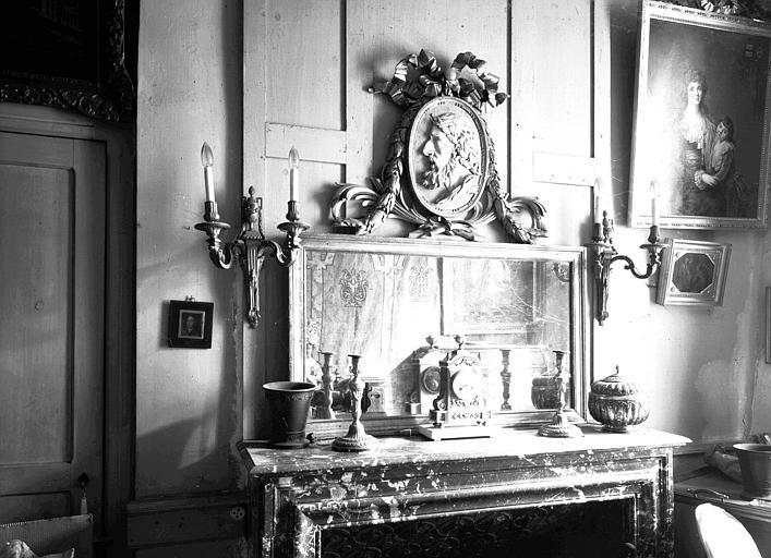 Décoration de la cheminée située dans la Chambre Longue