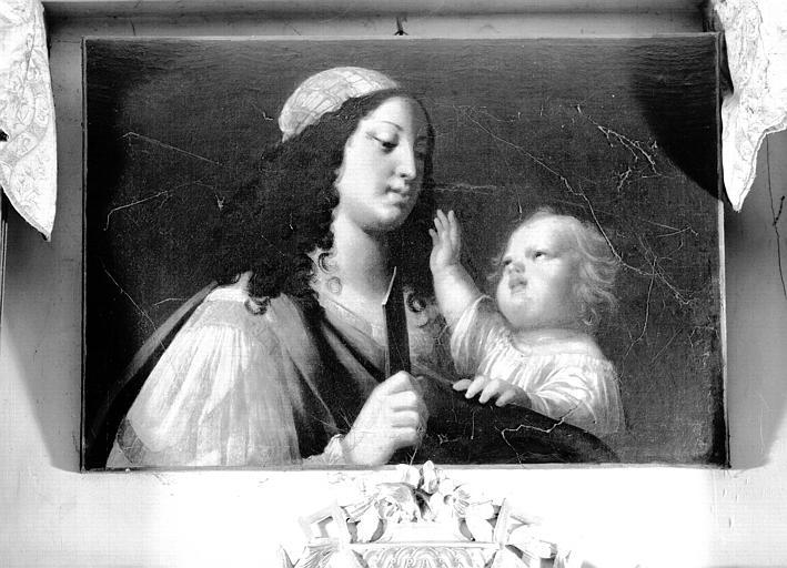 Peinture sur toile : Femme tenant un enfant en bandoulière