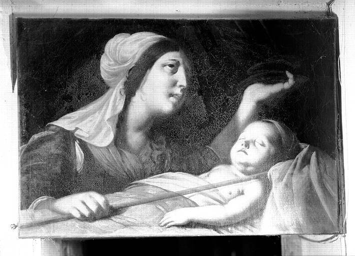 Peinture sur toile : Femme pleurant un enfant mort
