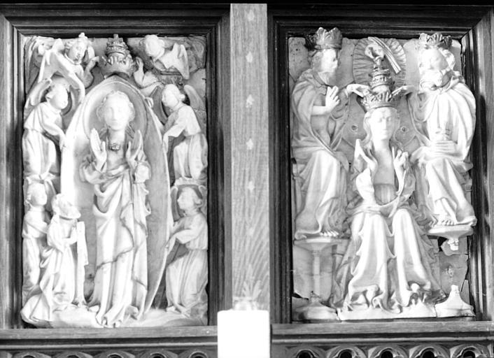 Deux hauts-reliefs en albâtre, atelier de Nottingham : Assomption, Couronnement de la Vierge