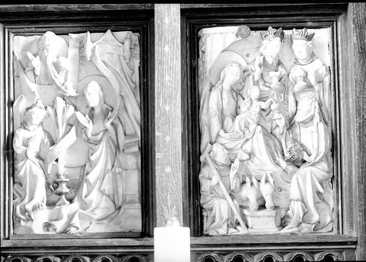 Deux hauts-reliefs en albâtre, atelier de Nottingham : Annonciation, Adoration des Mages