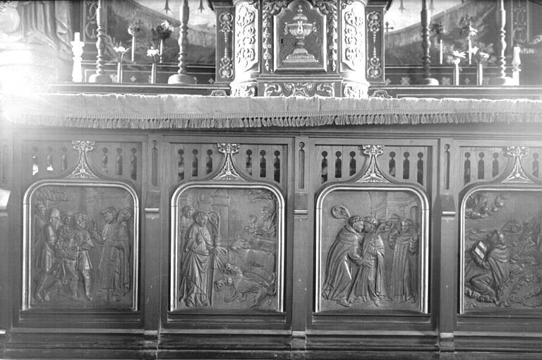 Tombeau d'autel formé de quatre bas-reliefs en bois : Histoire de saint Gildas