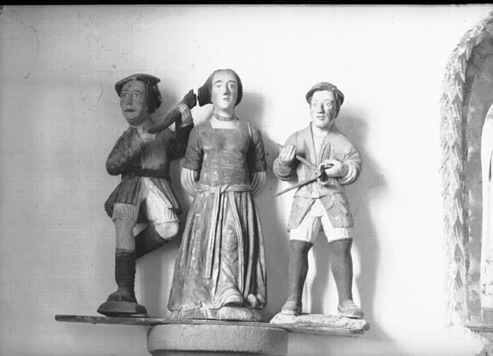 Groupe en bois polychromé : sainte Appoline et de ses bourreaux