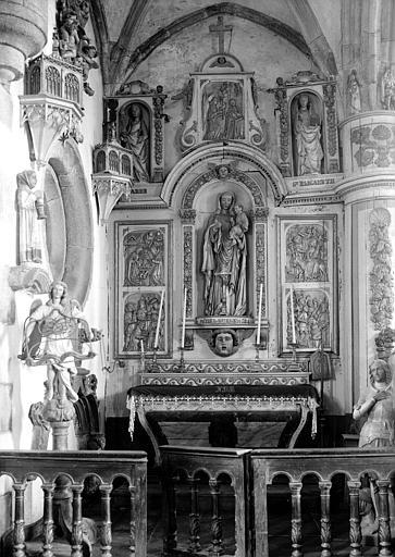 Retable central en bois sculpté de Notre Dame de Bodilis et ange du lutrin, bois