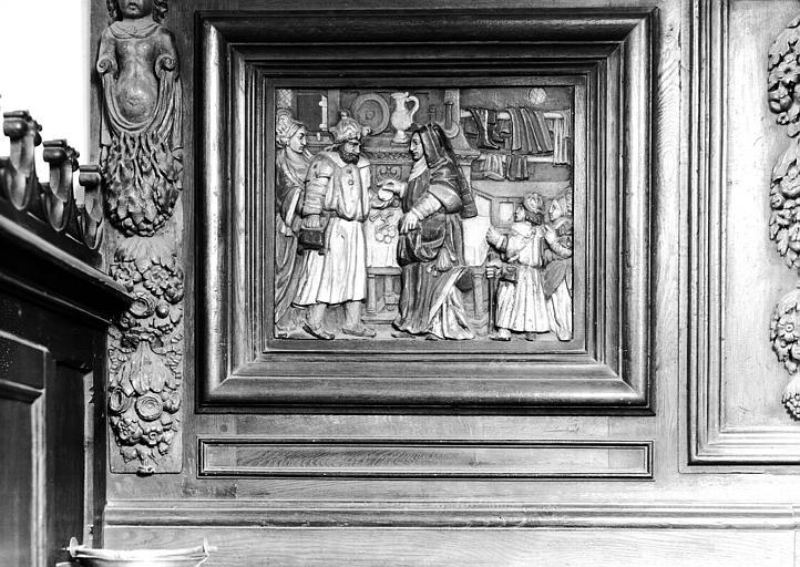Panneau à dextre du meuble de sacristie : Profanation de l'Hostie par le juif de la rue des Billettes