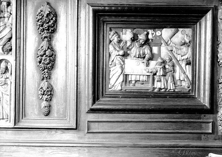 Panneau à senestre du meuble de sacristie : Profanation de l'Hostie par le juif de la rue des Billettes